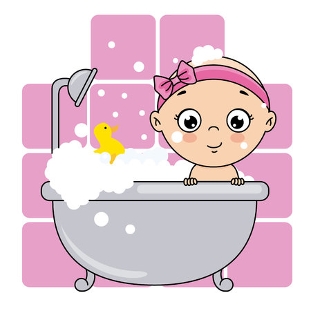 baby girl bathing in the bathtub. baby shower card.