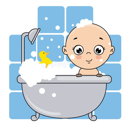 baby boy bathing in the bathtub. baby shower card.