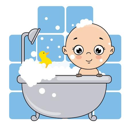 baby boy bathing in the bathtub. baby shower card.