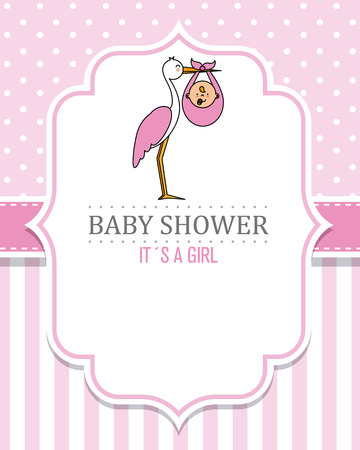 baby shower girl. Stork with a baby . space for text
