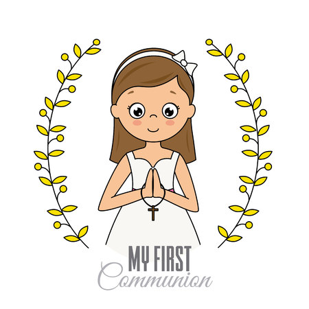 my first communion girl. Praying girl Archivio Fotografico - 107989315