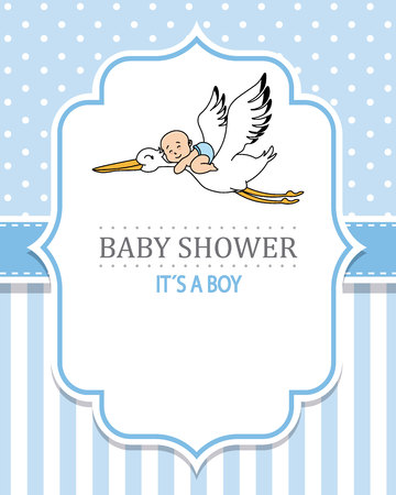 baby shower boy. Stork with a baby. space for text Иллюстрация