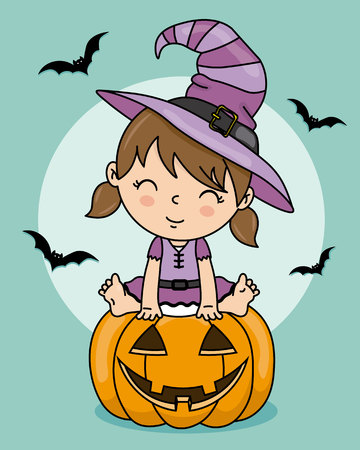 halloween card. Little girl dressed up as a witch sitting on a pumpkin Stock Illustratie