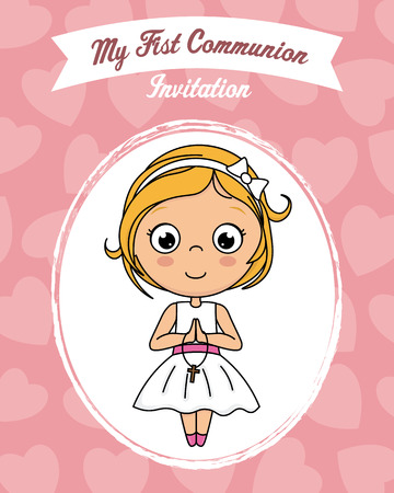 my first communion girl. Child praying Ilustracja