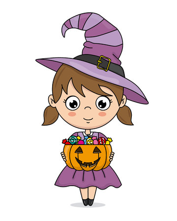 Happy halloween card. Girl dressed up as a witch candy Stock Illustratie