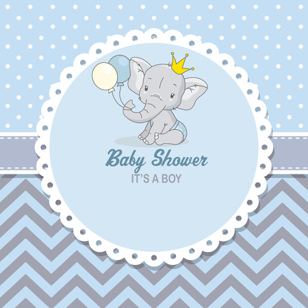baby shower boy. Cute elephant with balloons. space for text Stock Illustratie