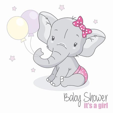baby shower meisje. Leuke olifant met ballonnen.