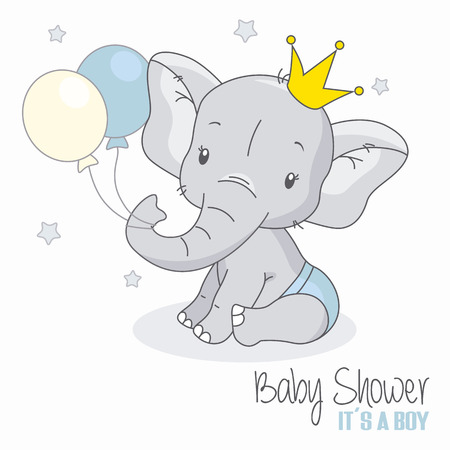 baby shower boy. Cute elephant with balloons. Vettoriali
