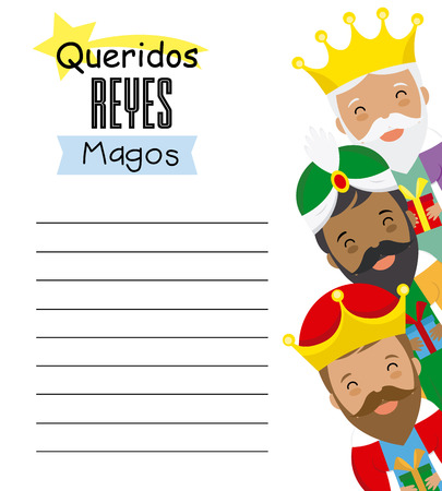 Letter to the three kings of orient. Dear wise men written in Spanish Vector Illustration