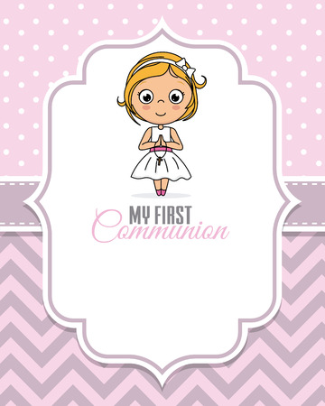 my first communion girl. Child praying Ilustracja