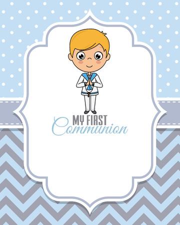 my first communion boy. Child praying