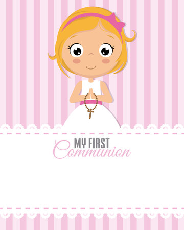 my first communion girl. Child praying. Space for text