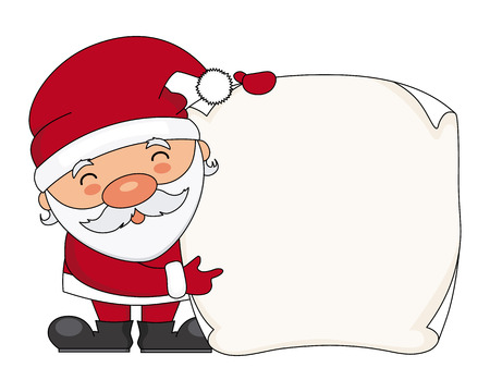 Santa claus with blank sheet for text Stock Illustratie