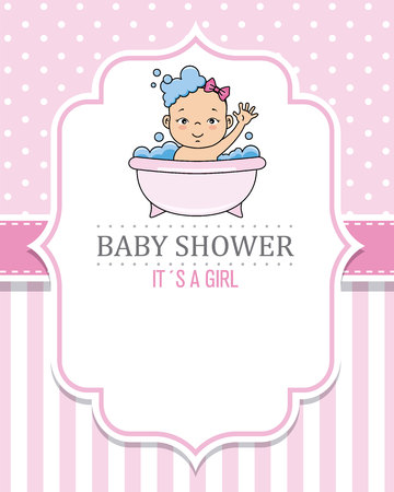 baby shower card girl. Baby girl bathing