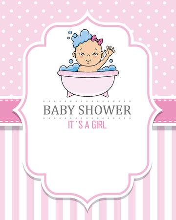 baby shower kaart meisje. Babymeisje aan het baden