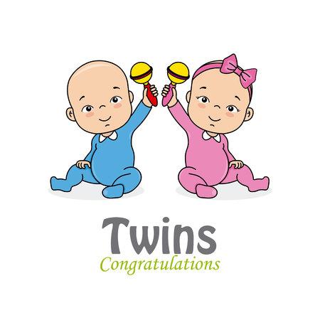 carte de douche de bébé. jumeaux fille et garçon Vecteurs