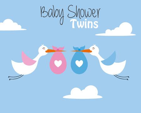 carte de douche de bébé jumelle. cigognes avec bébé fille et garçon Vecteurs