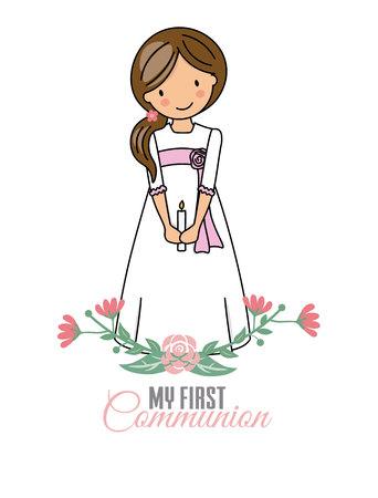 la mia prima comunione ragazza. Graziosa bambina con abito da comunione e fiori Vettoriali