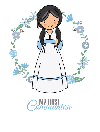 ma première fille de communion. belle fille avec robe de communion et cadre fleuri