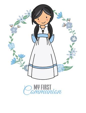 meine erste Kommunion Mädchen. schönes Mädchen mit Kommunion Kleid und Blumenrahmen