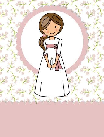 mein Erstkommunionmädchen. Kleines Mädchen in einem Kommunionkleid, einer Kerze und einem Blumenhintergrund