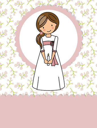 my first communion girl. Little girl in a communion dress, a candle and flower background Illustration