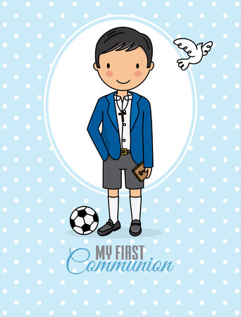 my first communion boy. Boy in communion costume and soccer ball