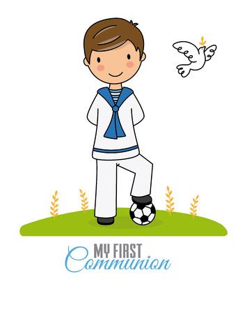 mijn eerste communie jongen. Jongen in communiekostuum en voetbal Vector Illustratie
