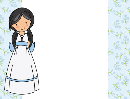 my first communion girl. Little girl in a communion dress. Illustration
