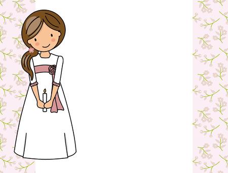 ma première fille de communion. Petite fille dans une robe de communion, une bougie et un fond de fleur. Vecteurs
