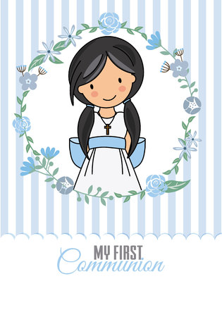 my first communion girl. Pretty girl inside a flower frame