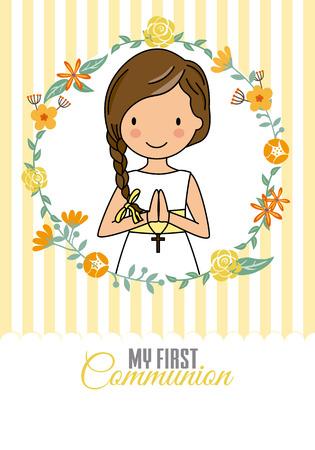 mijn eerste communie meisje. Mooi meisje in een bloemkader Vector Illustratie