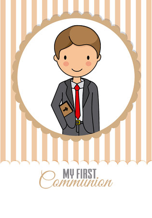 my first communion boy. child inside frame. space for text