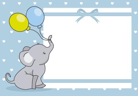 Baby-Dusche-Karte. süßer Elefant mit Ballon. Platz für Text