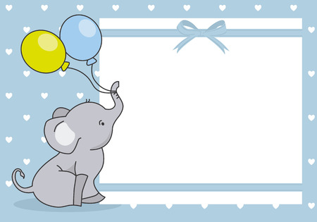 baby boy shower card. cute elephant with balloon. space for text