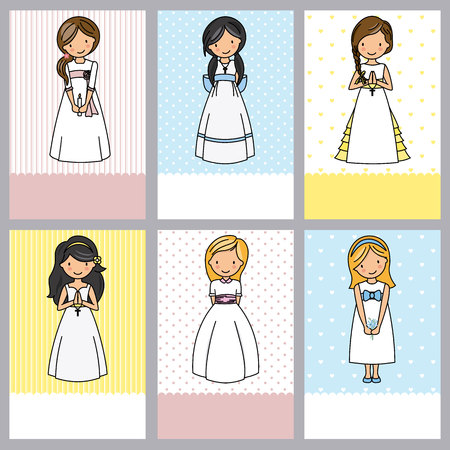 set of 6 first communion girl cards