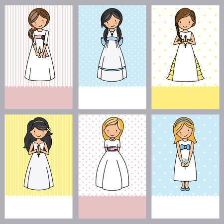 set van 6 eerste communie meisjeskaarten