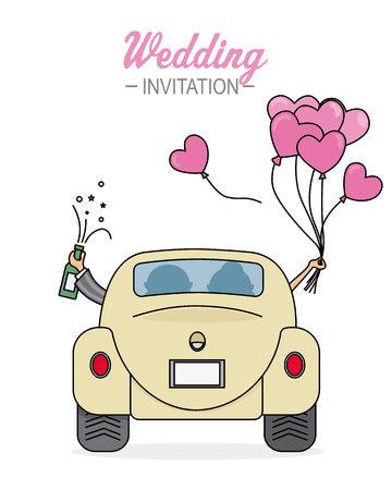 tarjeta de boda. Recién casados van en carro con globos de corazones y una botella de champagne Ilustración de vector