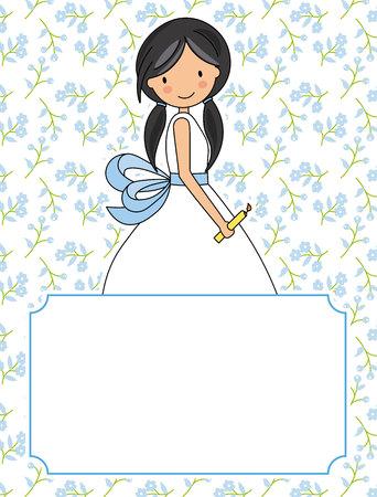 la mia prima comunione ragazza. Sfondo di fiori e spazio per il testo