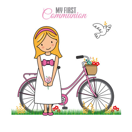 my first communion girl. Girl with bicycle