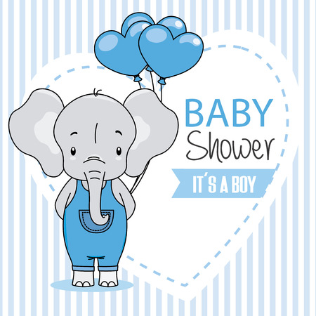 Baby shower card. Cute elephant with heart-shaped balloons.