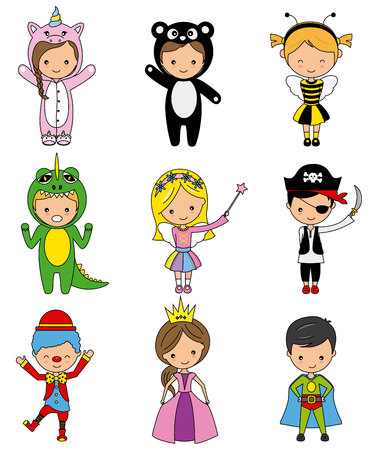 set of boys and girls in disguise. vector isolated