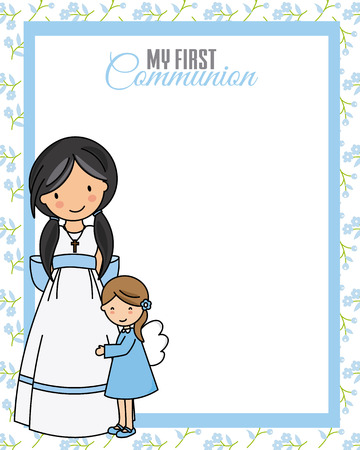 My first communion. Little girl with angel and blank space for text Stock Illustratie