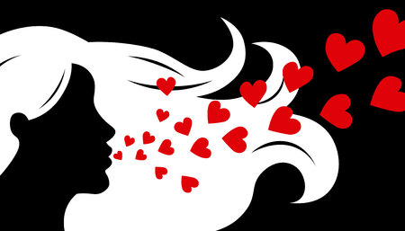 Love card. Silhouette face woman blowing hearts