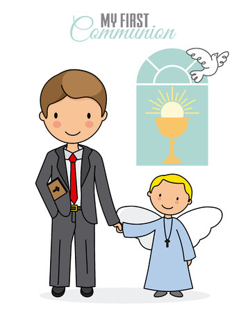 my first communion boy. Child holding hands with a little angel