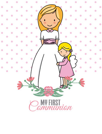 My first communion. Girl and angel. Space for text