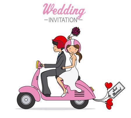 faire-part de mariage. Les jeunes mariés sur une moto
