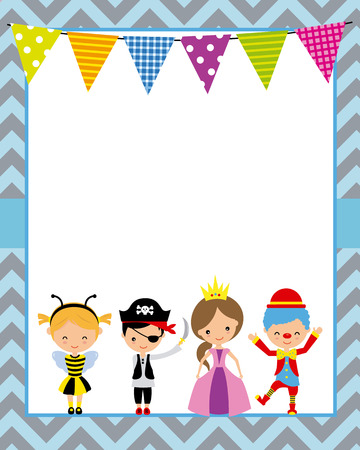 Costume party poster. Blank space for text Illustration