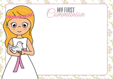 My first communion. Little girl with pigeon. Space for text