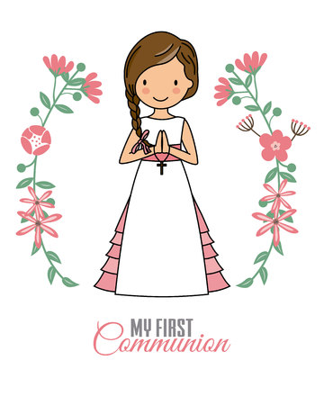 Girl communion card. Child in flower frame